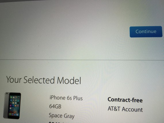 iPhone order confirmation screen