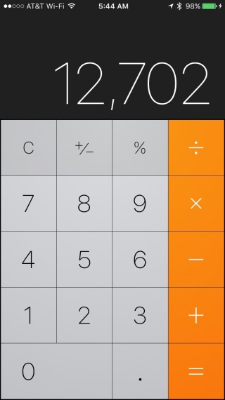 iPhone calculator screen shot