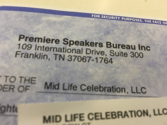 Speakers Bureau payment check