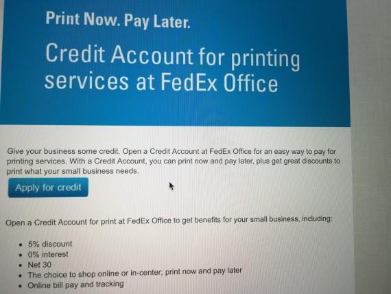 FedEx Kinkos online account application