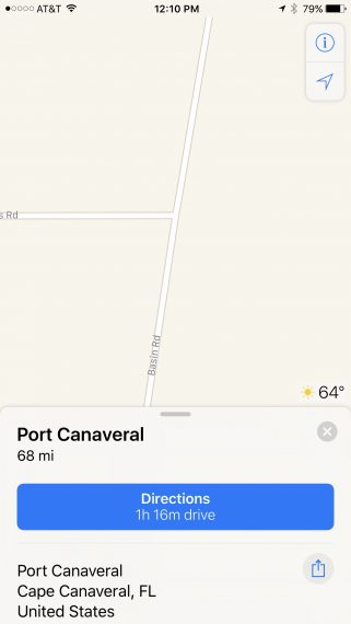 Disney World to Port Canaveral map