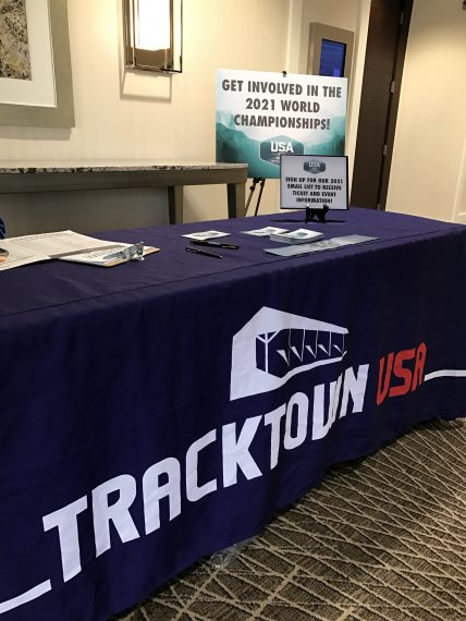 Track Town USA table at Disney World meeting
