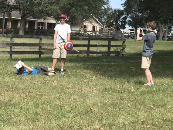 High School students filming a project