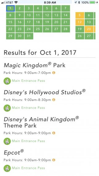 Disney parks operating hours October 1, 2017