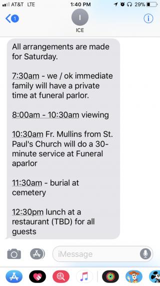 funeral schedule