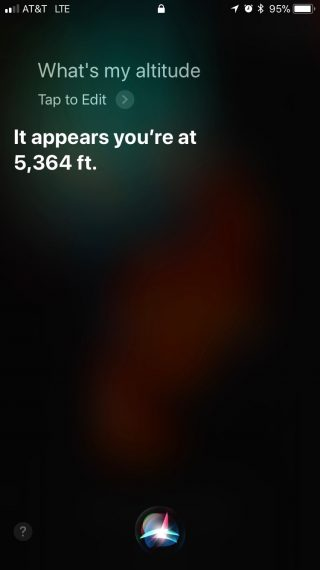 Siri elevation inquiry