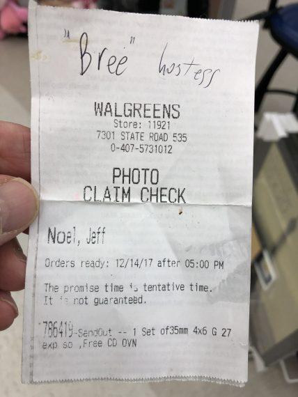 film developing receipt