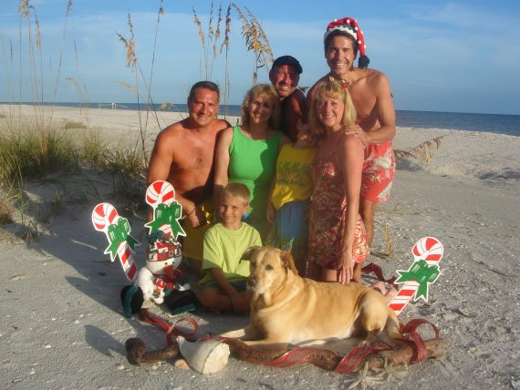 Family Christmas beach photo