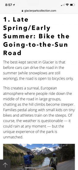 biking Glacier National Park