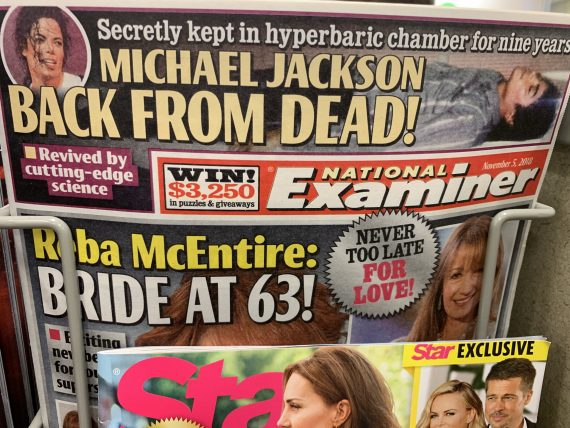 sensationalized tabloid headline