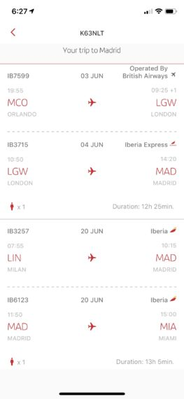Iberia airline ticket