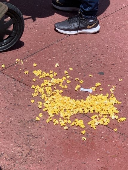 spilled popcorn at Disney