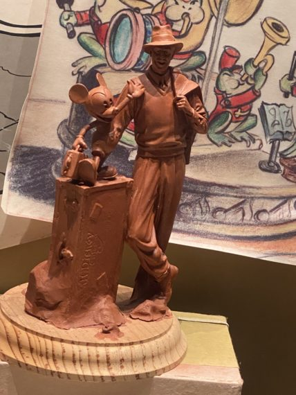 Clay mockup of Walt Disney and Mickey at Disneyland