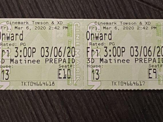 Onward movie ticket stubs