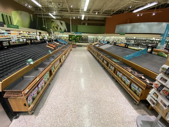 Empty produce shelves