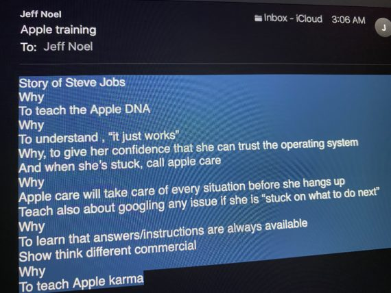notes to self bout apple training