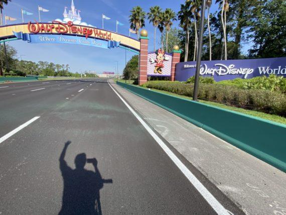 Photo of a bicyclist's shadow at Walt Disney World entrance