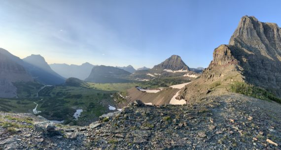 Glacier National Park, Logan Pass, from Mt Oberlin summit.
