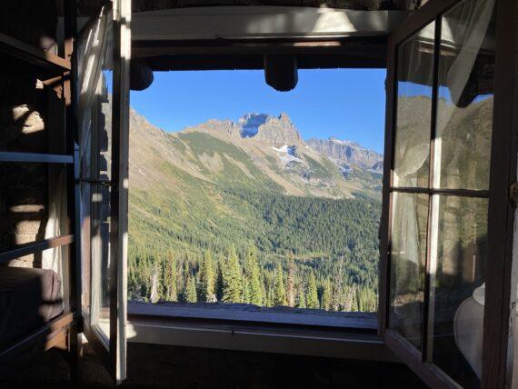 Mountains through chalet window