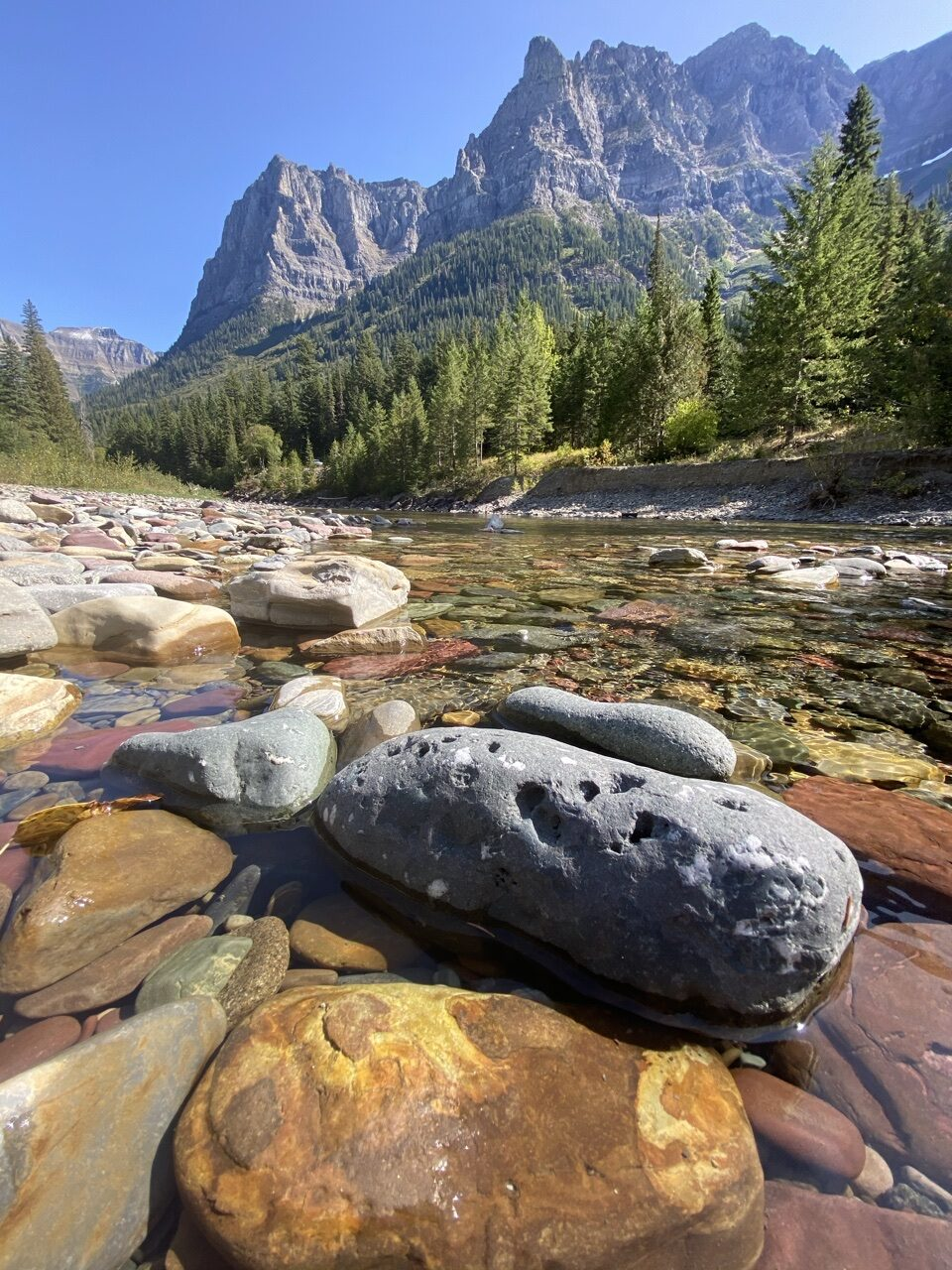 river bed in mountains