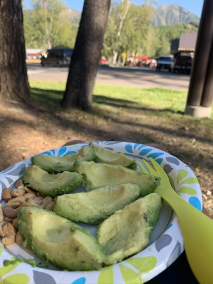 paper plate with cut avocado