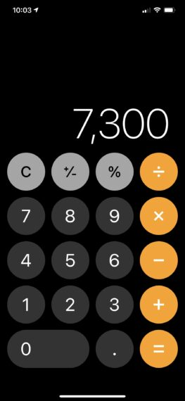 iPhone calculator image with 7,300