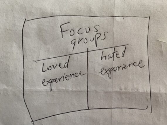 Hand written diagram-note about focus groups