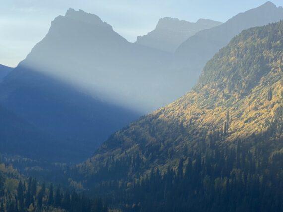 Mountains with sun ray shining through