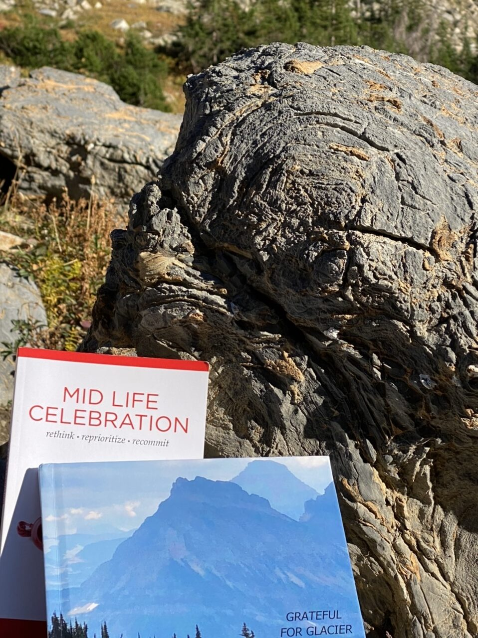 Two books, one entitled mid life celebration and the other called grateful for glacier near a fossilized rock