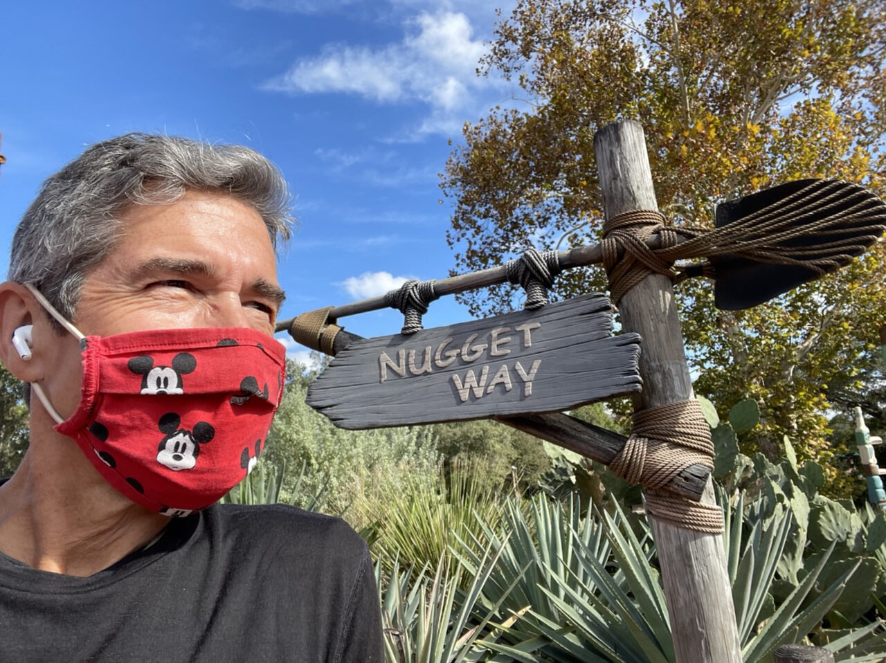 Man wearing mask by unique Disney sign