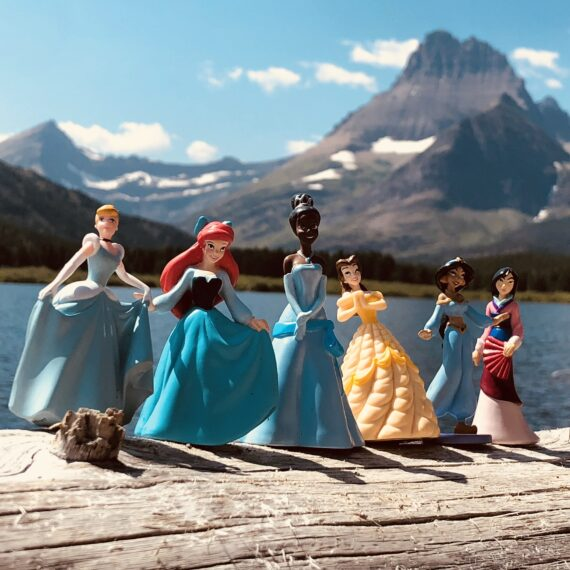 Disney princess figurines in the mountains