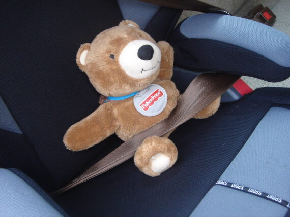 Teddy bear strapped into child's car seat