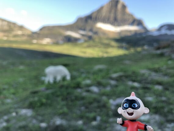 Disney character Jack Jack toy in the mountains