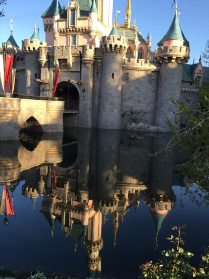 Sleeping beauty castle and it's reflection in the water