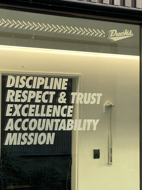leadership values etched in window