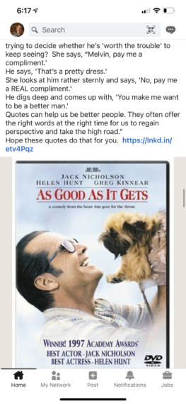 LinkedIn screen shot of a movie poster