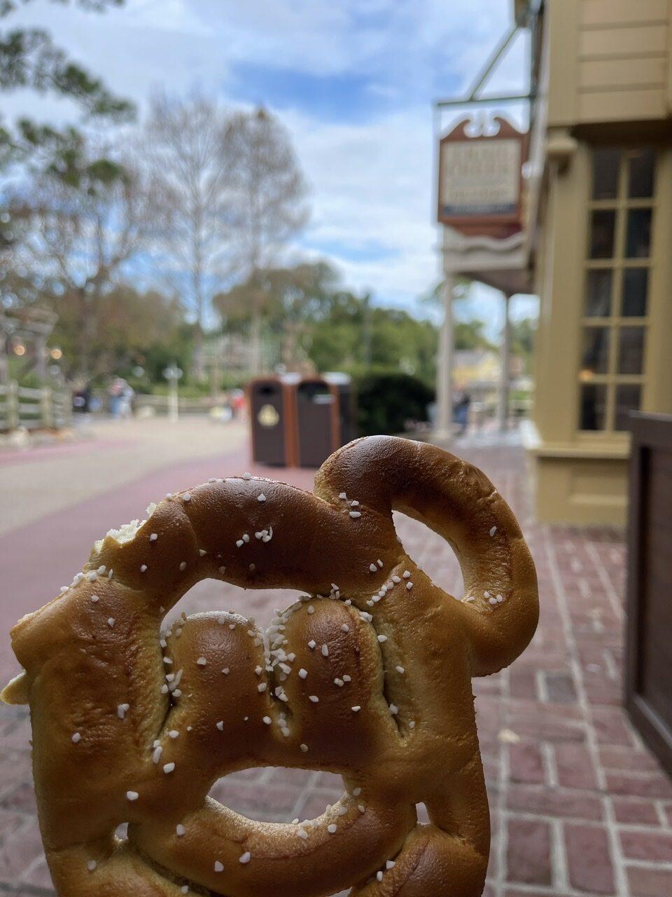 Mickey Mouse shaped soft pretzel