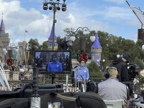cinderella castle and media crew