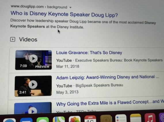 Google search results for Disney Keynote speaker