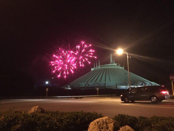 Disney fireworks over Space Mountain