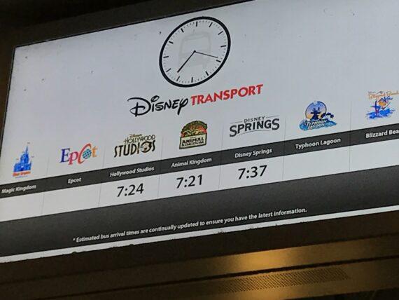 Disney Bus wait times sign