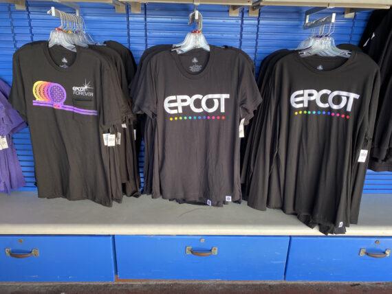 three types of Epcot tee-shirts