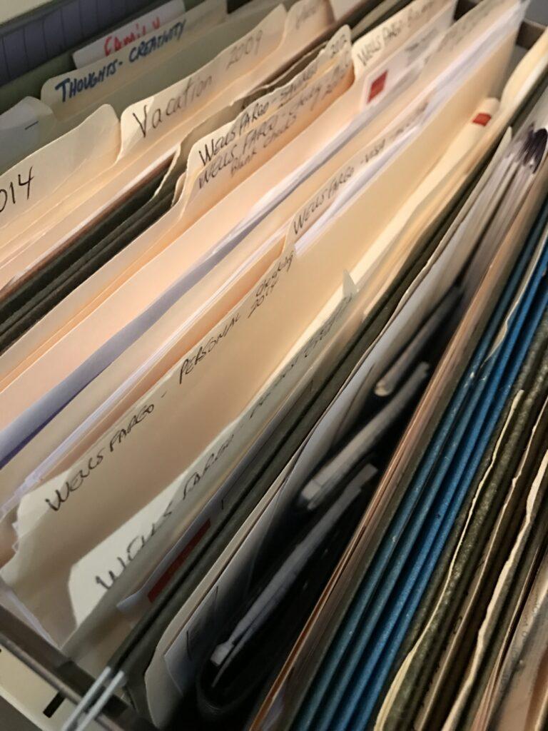 paper file folder in filing cabinet