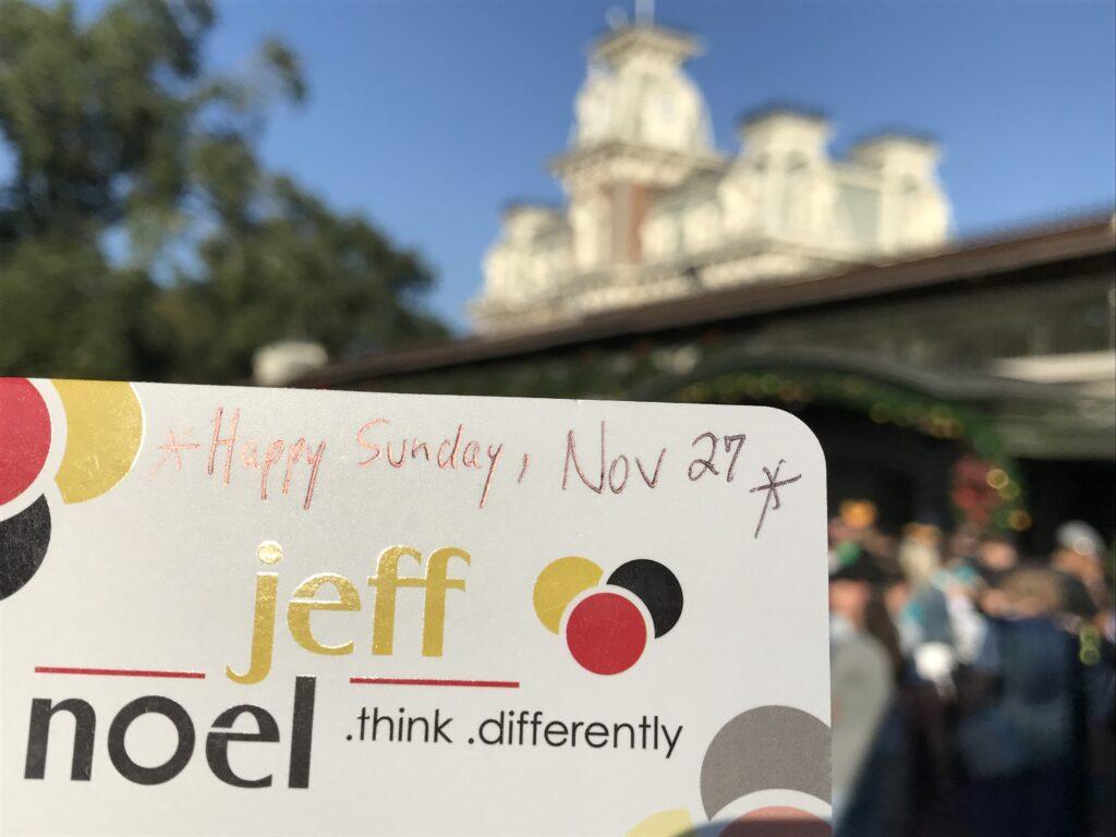 Disney creativity and innovation  author Jeff noel's business card
