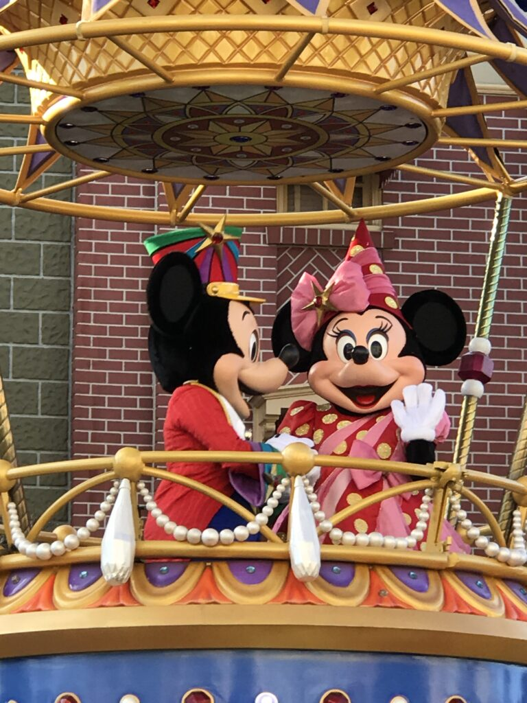 Mickey and Minnie on a parade float