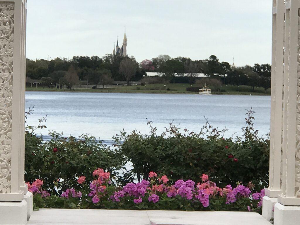 Cinderella Castle view from Disney's Fairy Tale Weddings pavilion